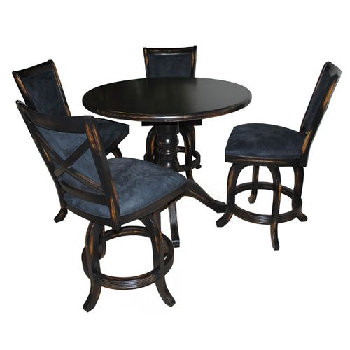 5 Piece Mango Barstools Wood Table Pub Set