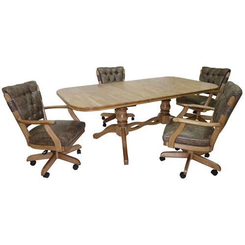 Vintage Caster Chairs Wood Table Pub Set